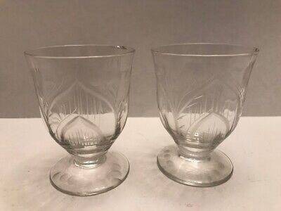 Pair mid 19th Century Antique Century Blown and etched Cordial Glasses