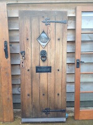 Charming Solid Oak Front Door Old Wood Antique Reclaimed. Period Hinges/Fittings