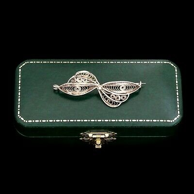 Antique Vintage Art Nouveau Sterling Silver English Filigree Bow Wing Pin Brooch
