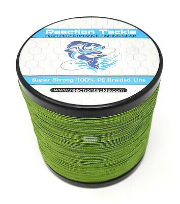 Reaction Tackle High Performance Braided Fishing Line / Braid - Low Vis Green