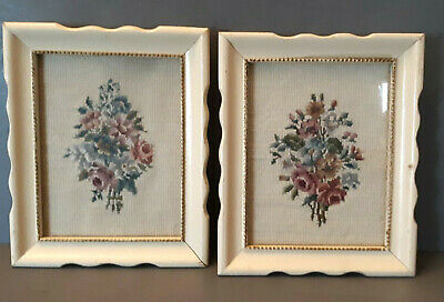 2 Framed Cross stitch Floral Rose Bouquet Picture Under Glass Wall Decor Shabby
