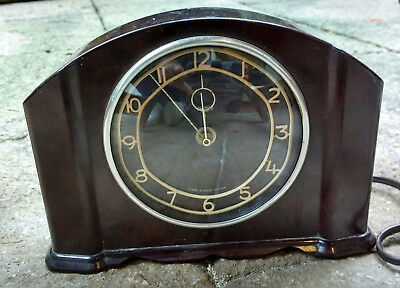 Vintage 1930s SMITHS RADBOURNE BAKELITE Electric Mantel Clock brown tested works