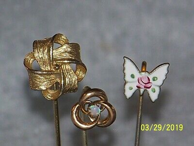 3c943b1d1 Vintage to Antique Lot Of Stick Pins Hatpins Hat Pins Opal Painted Butterfly