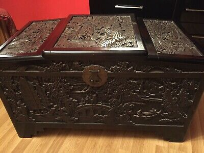 Asian/Chinese Oriental Chest, Trunk, Coffer, Blanket Box, Ottoman  Hand Carved
