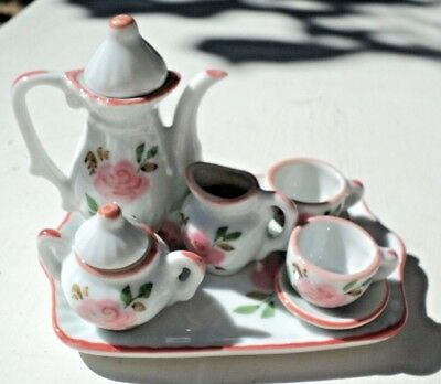 Andrea By Sadek 10 Pc. Miniature Tea Set Pink Rose Pattern