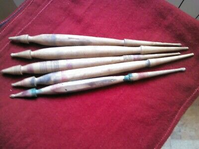 Primitive Very Old Nice Wool Spindles For Hand Spinning Yarn Carved Lot Of 5