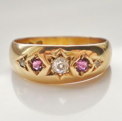 Stunning Antique Edwardian 18ct Gold Ruby & Diamond Ring c1902; UK Size 'M 1/2'