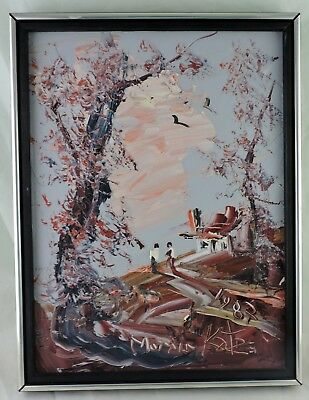 Vintage 1987 Painting Oil Board Listed Morris Katz Signed Season Scenic Scene