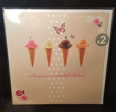Quality open Happy Birthday greeting card ice cream cones, butterflies