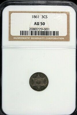 1861 - Ngc Au50 Three Cent!!  #b17870
