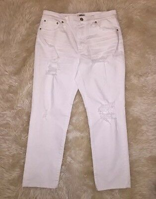 New Jcrew Petite Vintage Crop Jean In Destroyed White 24P G3011 $110