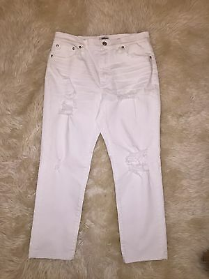 New Jcrew Petite Vintage Crop Jean In Destroyed White 28P G3011 $110