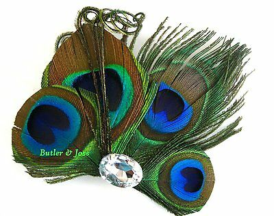 Peacock Feather Hair Clip Pin Accessories Prom Wedding Bridal Fascinator 'Becca'