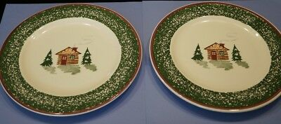"Set /2 Tre-Ci Italy ""Log Cabin"" Christmas Dinner Plates Holiday"