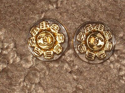 CHANEL  2 gold METAL CC LOGO FRONT BLACK clear  BUTTON 14 MM SMALL  lot 2