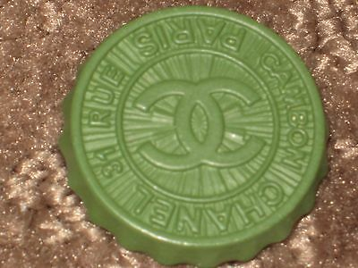 Chanel  Paris Cambon Cc Logo Front Auth Green  Button 18 Mm New