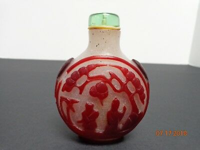 Antique Chinese Glass Snuff Bottle with Red Glass Forest Scene Overlay