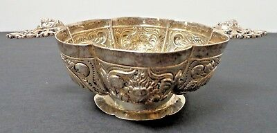 Antique Sterling Silver Rare Repousse Footed Bowl/Wine Taster Cup with marking