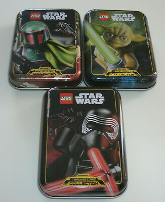 LEGO Star Wars Serie 1 Trading Card Game - alle 3 Mini Tin Boxen leer