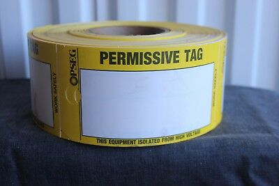 Roll of Yellow Permissive Tags NEW