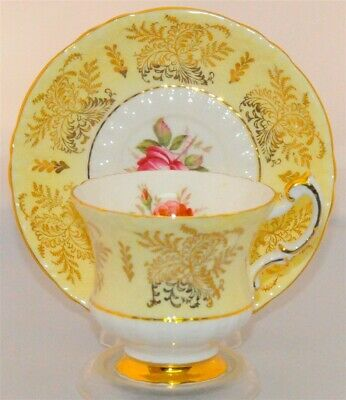 Paragon Yellow Band, Floral Filgree Gold Trim Teacup & Saucer E87A