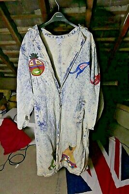 Very Rare HAND PAINTED NATIVE AMERICAN INDIAN USA  Denim Trench Jacket Large