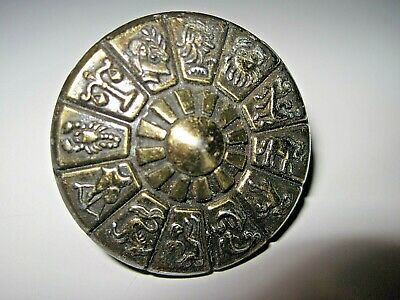 ESTATE FIND~Vintage Ajax~ZODIAC Signs Astrology BRASS Cabinet/Drawer Pull Handle
