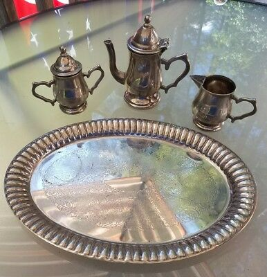 Godinger Silver Art Co. Dirty Tarnished 5 piece Mini Silver Plated Tea Set Tray