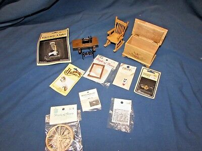 Lot Vintage Dollhouse Miniatures Furniture & Accessories hope chest sewing