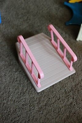 Vintage Little Tikes Family Doll House Wheelchair with pink rail Ramp HTF