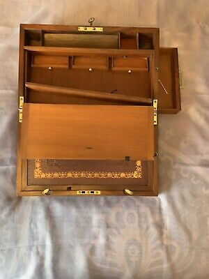 Large Georgian Writing Slope/ Box Secret Drawer Underdrawer Working Lock & Key