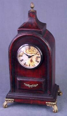 Antique Style Wood Tabletop Clock w Brass Tone Feet & Accents [ID 20813]