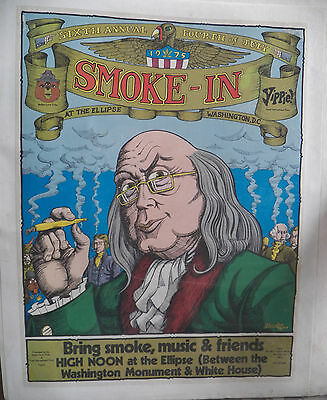 P Bramley POSTER: 6th ANNUAL 4th OF JULY SMOKE-IN Youth Intl. Party 1975 in DC