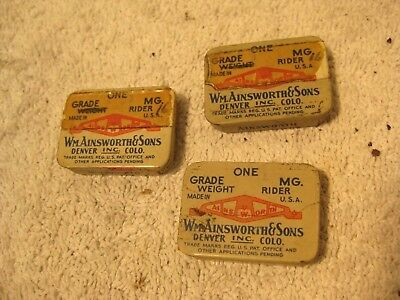 Vintage Wm.Ainsworth and Sons 3 small metal balance weight containers