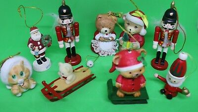 21 Vintage Handmade & MORE Knitted, CERAMIC WOOD Christmas Ornaments Decoration