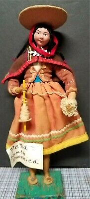 Vintage South American Peru Handmade Lady Doll Cultures Ethnicities Dated 1969