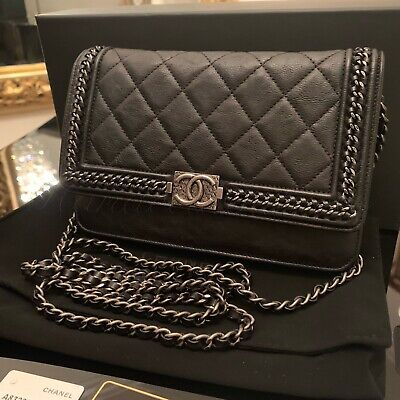 4279cb14609e NWT CHANEL Limited Ed Gray Black Leather BOY Wallet On Chain All Around WOC  Bag