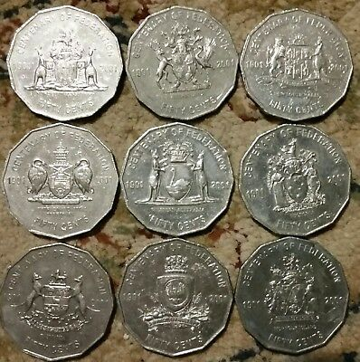 2001 50 cent Federation coin set all 9 coins