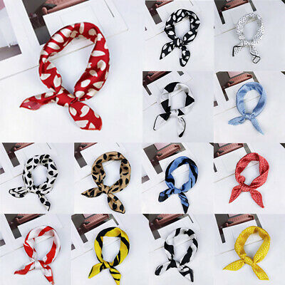 Small Square Satin Scarf Head Neck Scarf Bandana Hair Tie Band Wrap Handkerchief