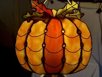 "Stained Glass Pumpkin And Oak Leaf Hanging Sun Catcher 7""x7"" Jewel Tone Accents"