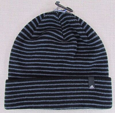 f4e8fea86e4b4c ADIDAS Men's Climawarm Striped Beanie Hat Black Gray One Size Fits All NEW