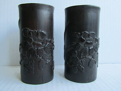 Pair of Antique Chinese Republic Period to 50/60s Carved Bamboo Brush Pots