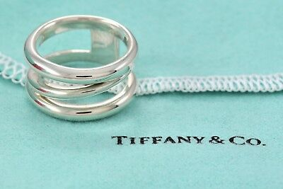TIFFANY & CO Sterling Silver DIAGONAL Open Weave Wide Ring Size 6.5 w/ Pouch