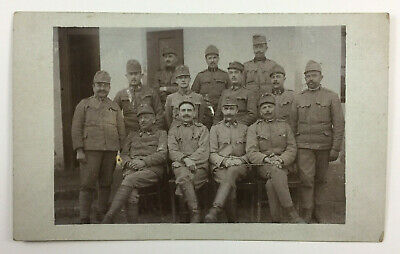 WWI Real Photo Postcard RPPC Group of 13 Austro Hungarian Soldiers in Uniform