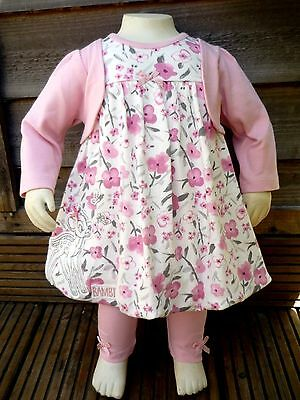 BNWT Baby Girls Disney Bambi 2pc Pretty Pink Dress Cardigan Leggings Outfit 0-3