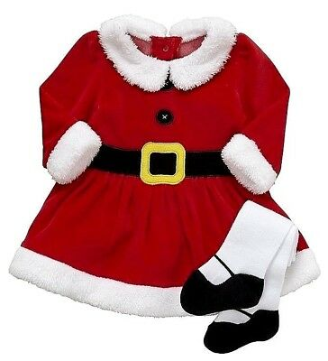 BNWT Baby Girls Red Santa Faux Fur Trim Party Dress Tights Christmas Xmas Outfit