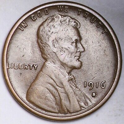 XF 1916-S Lincoln Wheat Cent Penny FREE SHIPPING