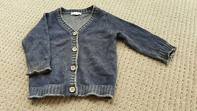 Purebaby Navy Cardigan - Wool/ Organic Cotton size 0