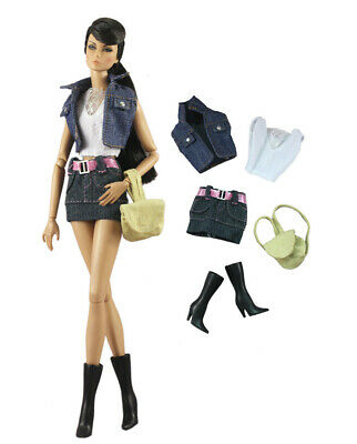5 PCS Set Fashion Denim Outfit Top+vest+skirt+boots+bag FOR 11 in. Doll Clothes