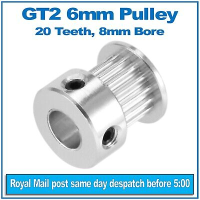 GT2 Timing Pulley 20 Teeth 6mm Belt Width 8mm Bore for CNC, 3D Printer